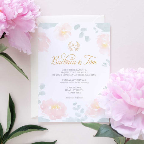 peony and eucalyptus wedding invitation