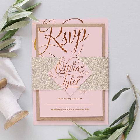 gold glitter bellyband wedding invitation package