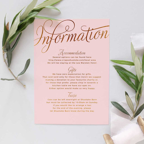 blush wedding information card for weddings