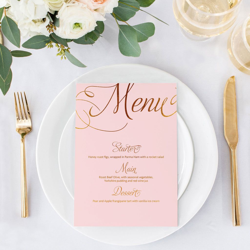 blush and gold menu card
