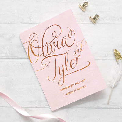 blush and gold wedding service booklet