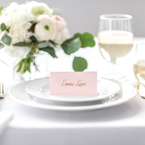 blush and gold placecard for weddings
