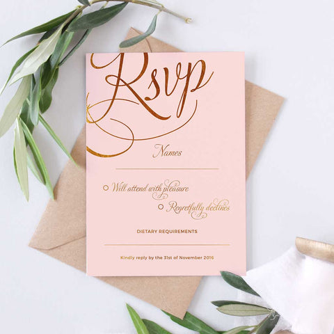 blush and gold RSVP wedding card