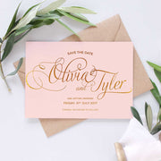 blush and gold save the date