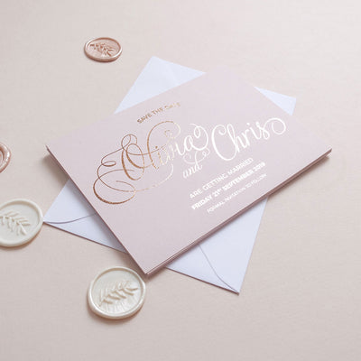 Blush and Gold Save the date - The Luxe Collection Foil