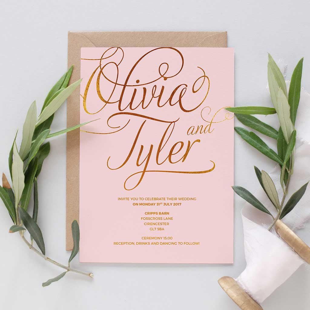 Blush And Gold Wedding Invitation Package