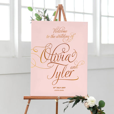 blush and gold welcome sign for wedding calligraphy