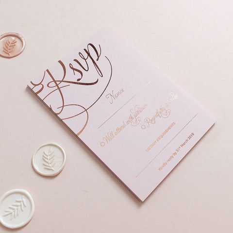 Blush and Gold RSVP Cards - The Luxe Collection Foil