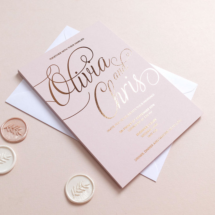 Blush and Gold Classic Invitation Package - The Luxe Collection *Foil*