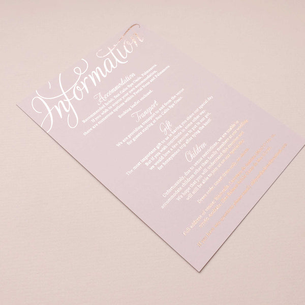 blush and gold wedding information card