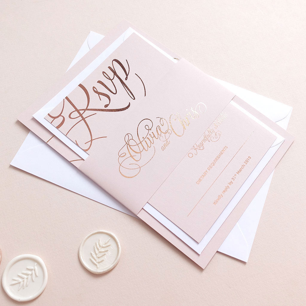 Blush and Gold Classic Invitation Package - The Luxe Collection Foil