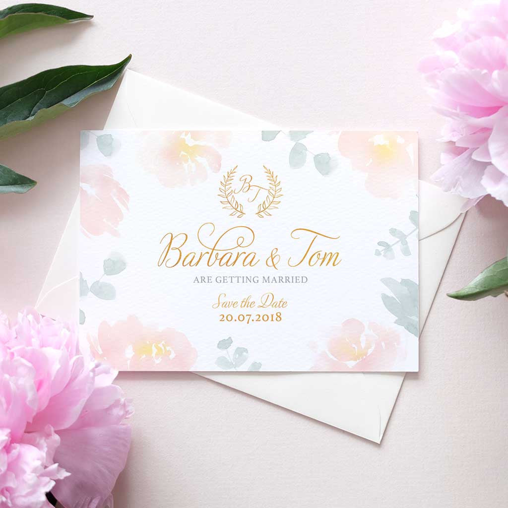 peonies blush and green eucalyptus wedding save the date