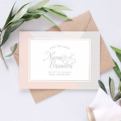 dusty pink save the date wedding