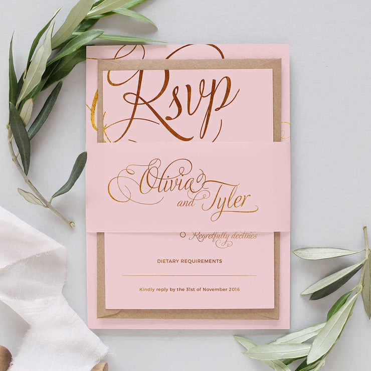blush and gold wedding package