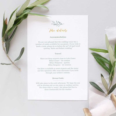 olive leaves Italian wedding invitation set