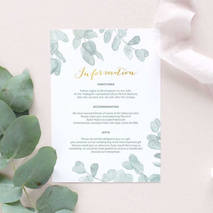 Eucalyptus wedding information card