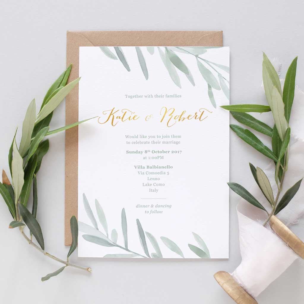 Olive leaf wedding invitation package with pocketfold – Blush and Gold