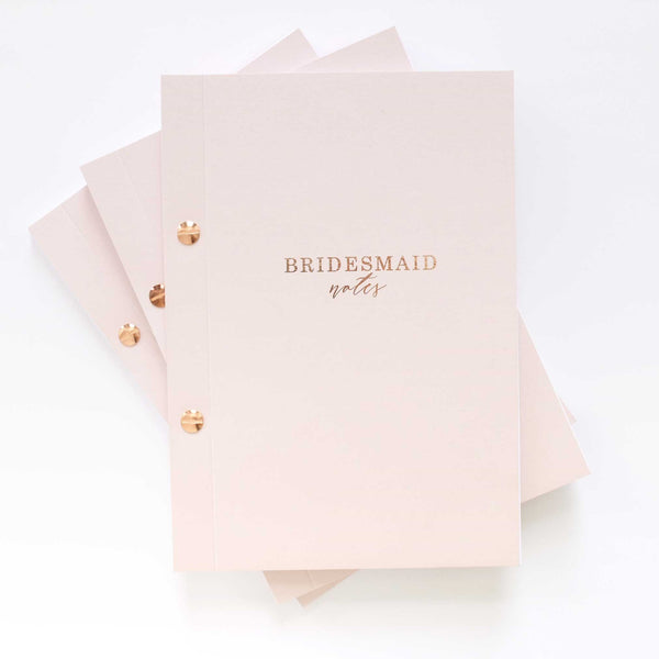Luxury Bridesmaid notebook - Pink With Rose Gold Foil