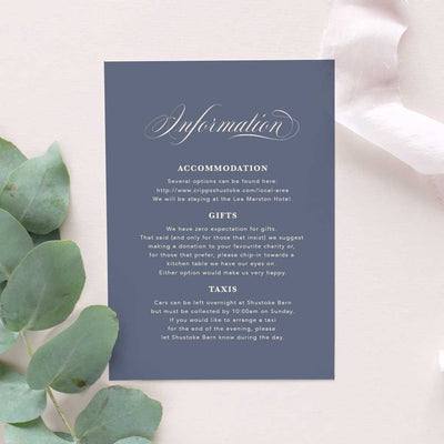 calligraphy elegant wedding information card