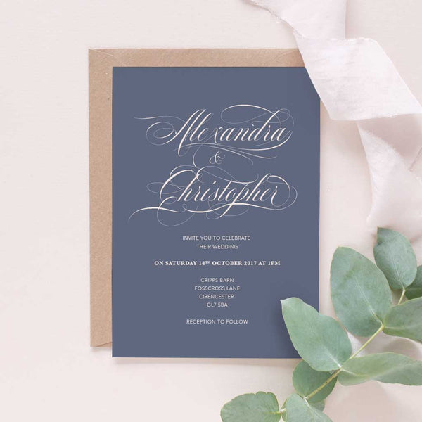 calligraphy gold glitter wedding invitation