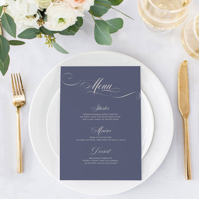 calligraphy menu card for wedding