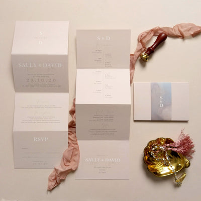 'Stonewash' Concertina Wedding Invitation Package