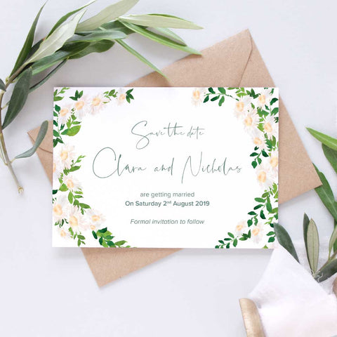 floral daisy save the date card