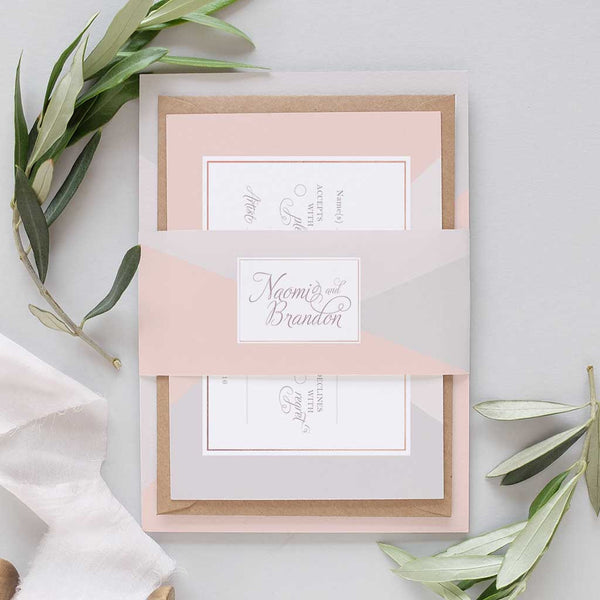 blush and dove grey wedding invitation package