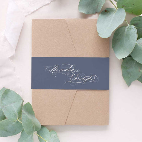 silver and grey wedding invitation package