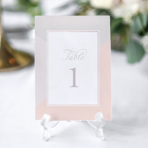dusky pink table number decor for wedding