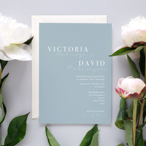 'Dusty Blue' Wedding Invitation