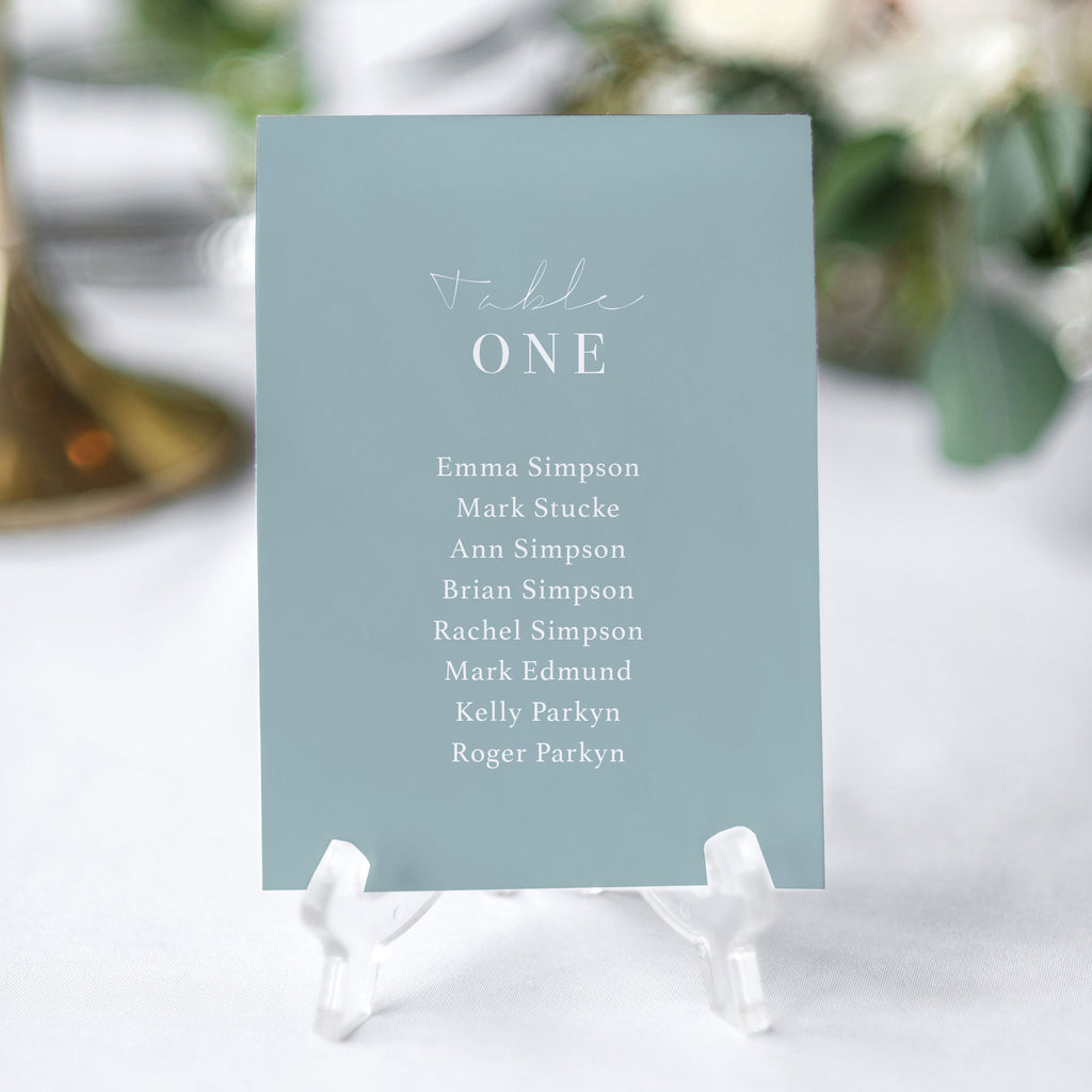 'Dusty Blue' Seating Chart Cards