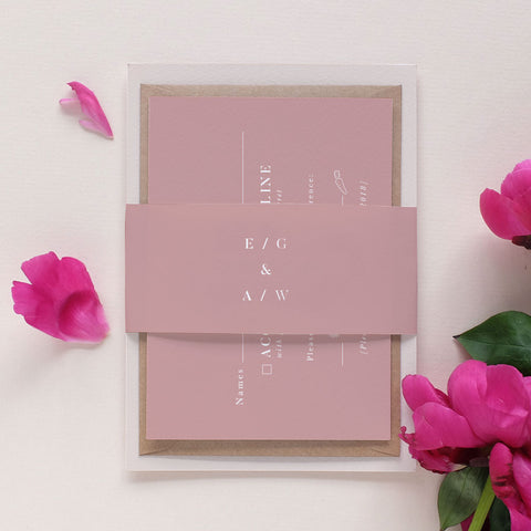 elegant dusty pink wedding invitation package