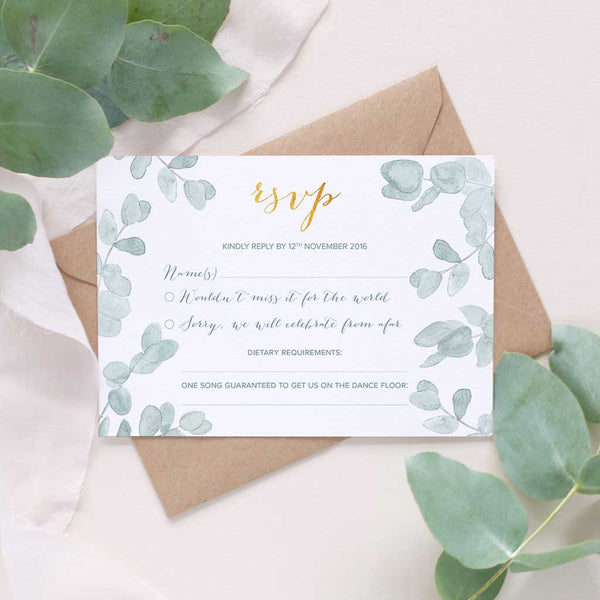 botanical wedding invitation package