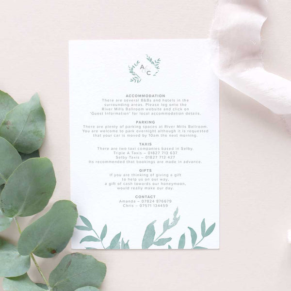extra information card for weddings