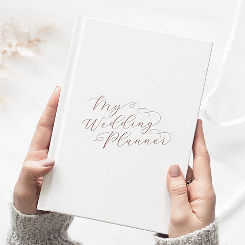 LIMITED EDITION Calligraphy White With Rose Gold Foil Luxury Wedding planner book