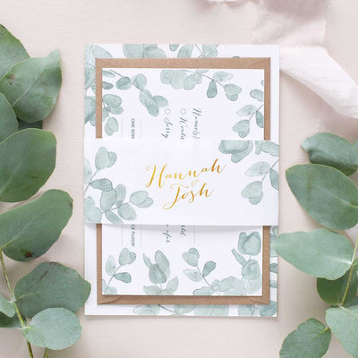 eucalyptus wedding invitation package