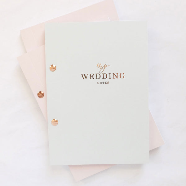PRE-ORDER Luxury wedding notebook - Grey With Rose Gold Foil