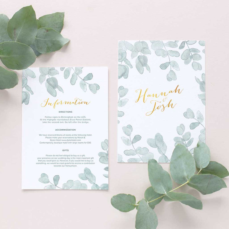 botanical wedding information card