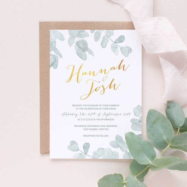 muted green and gold wedding stationery