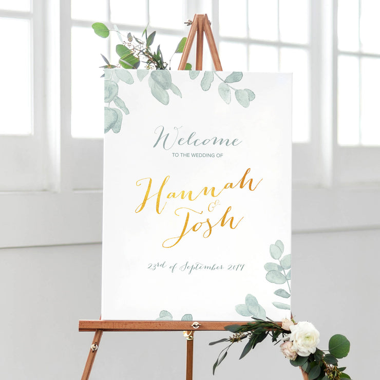 Eucalyptus wedding welcome sign reception