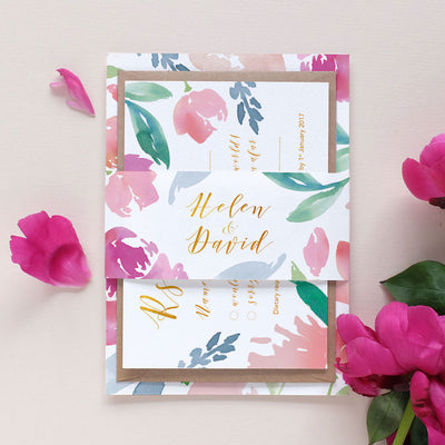 floral wedding invitation with bellyband