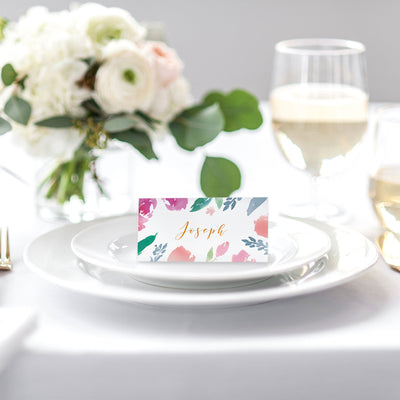 floral wedding place cards