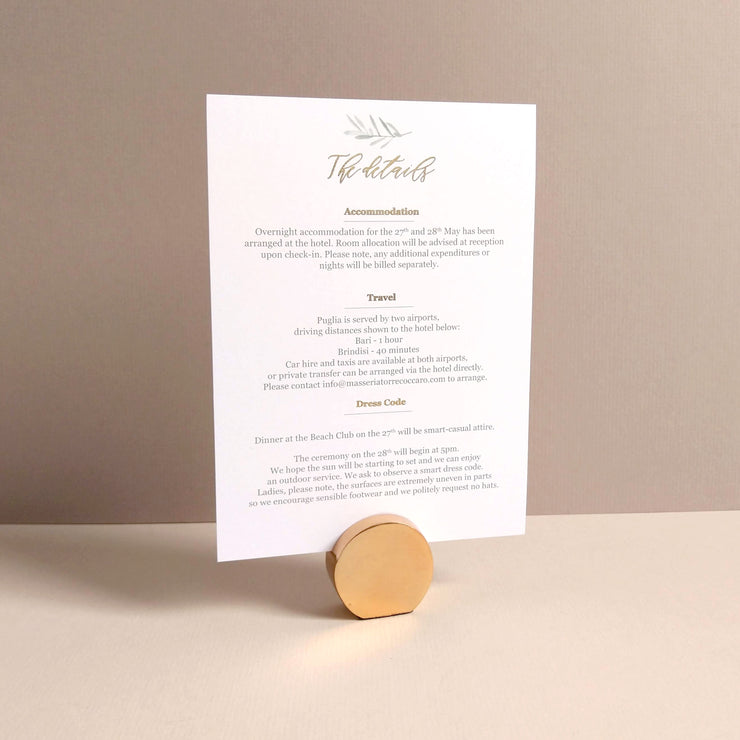 Olive Information card - The Luxe Collection *Foil*
