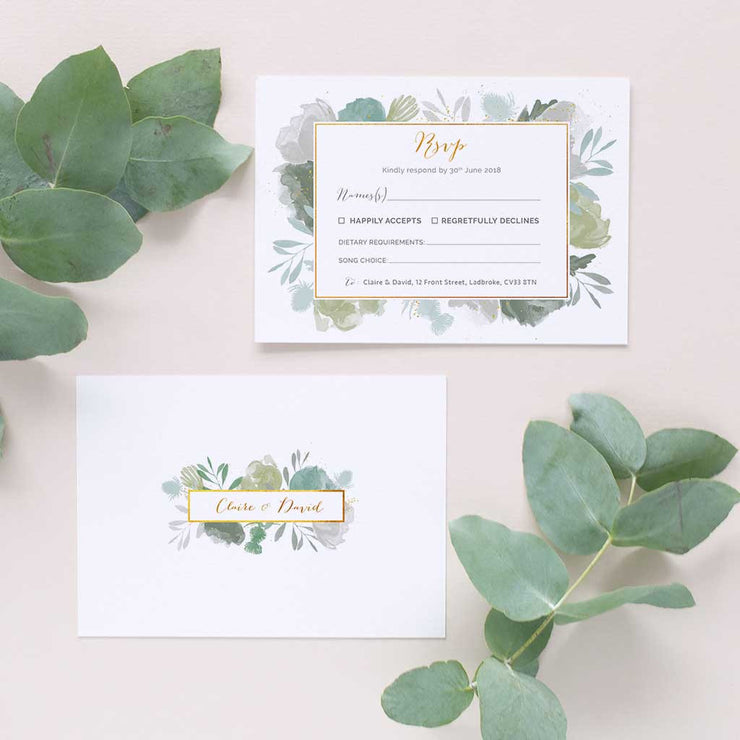 muted green wedding rsvp for invitations