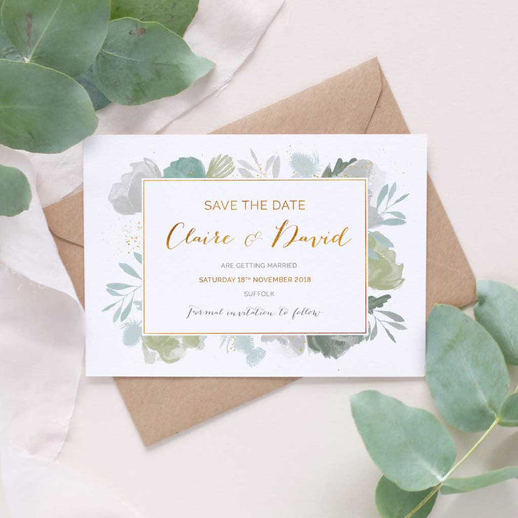 foliage greenery wedding invitation