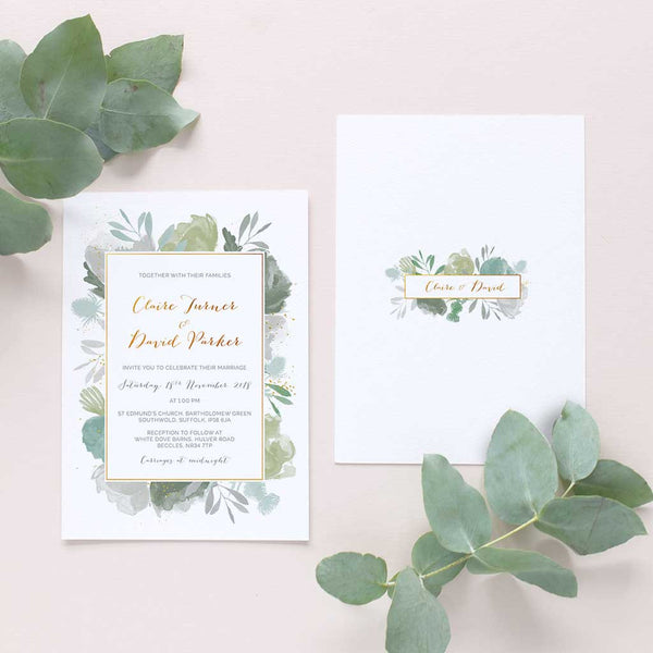 elegant foliage wedding invite
