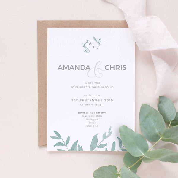 minimal leafy wedding invite