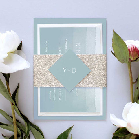'Dusty Blue' Debut Wedding Invitation Package