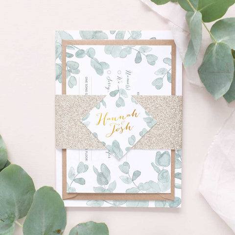Eucalyptus and gold wedding invitation package